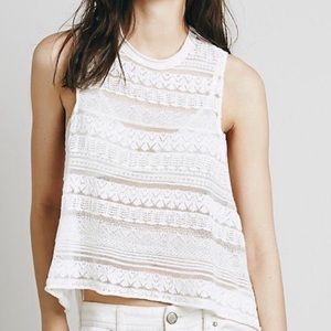Free People | Lace Tank Top | White